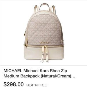 MK Rhea zip back pack white  New with tags